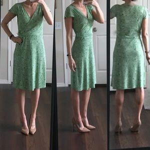 LOFT green and white faux wrap dress